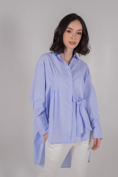 Pleated Waist Oversized Shirt in Sky Blue