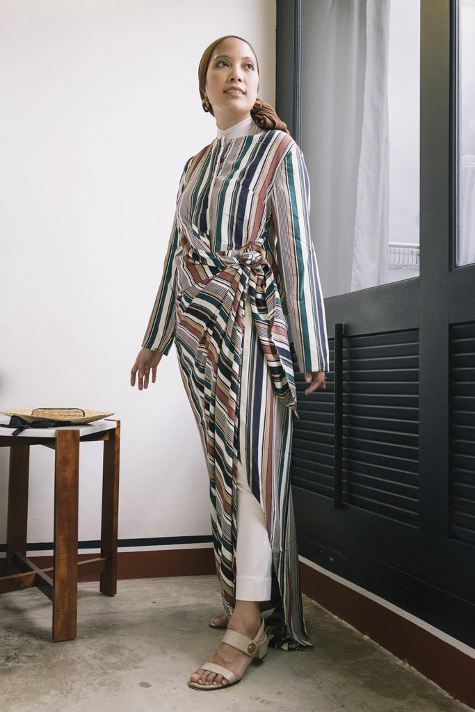Stripe Drape Dress in Multi Nude