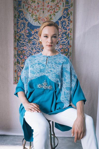 Exclusive Embellished Kaftan Top in Deep Turquoise