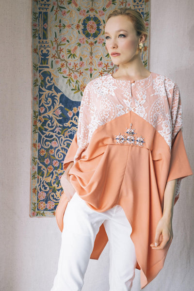 Exclusive Embellished Kaftan Top in Tangerine