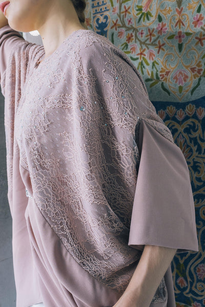 Exclusive Embellished Kaftan Top in Blush