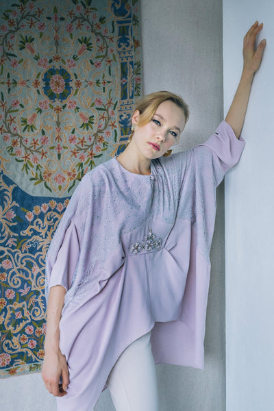 Exclusive Embellished Kaftan Top in Lilac