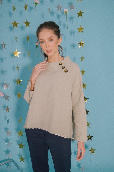 Scallop Oversized Top in Sage Green