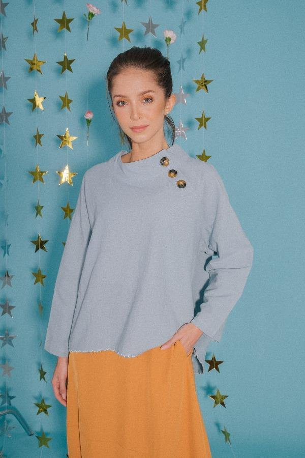 Scallop Oversized Top in Blue