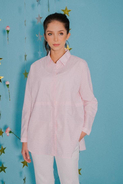 Striped Boxy Shirt in Pink