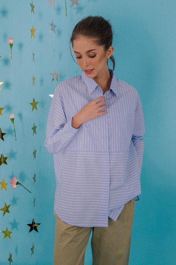 Striped Boxy Shirt in Blue