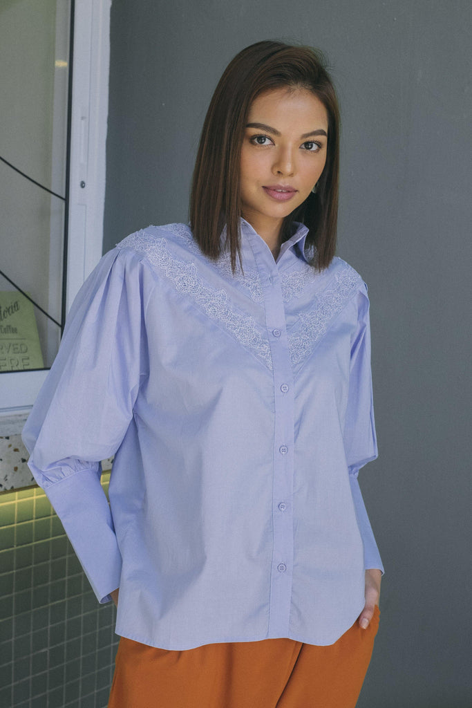 Voluminous Shirt with Lace Trimmed in Sky Blue