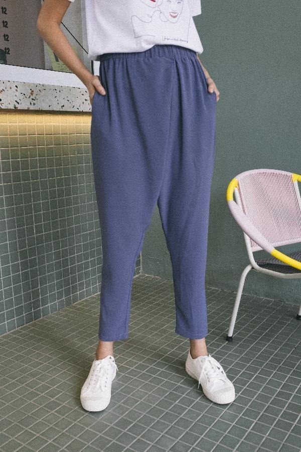 Relaxed Slouch Pants in Grey Blue