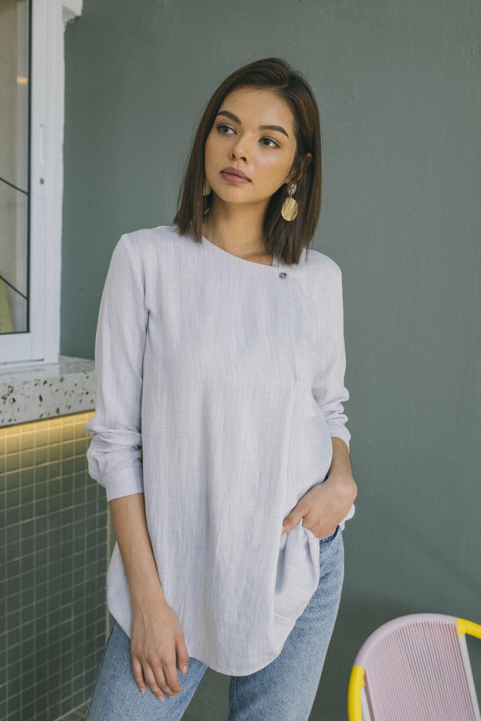 Front Overlap Shirt Dress in Dusty Grey