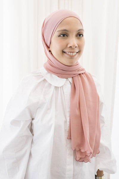 Lebaran Plain Shawl in Dusty Pink