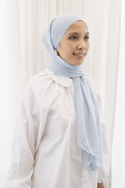 Lebaran Plain Shawl in Soft Blue