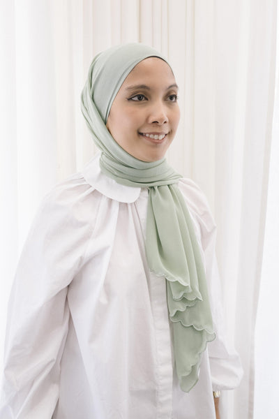 Lebaran Plain Shawl in Lime Green
