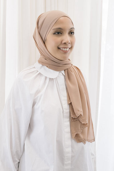 Lebaran Plain Shawl in Light Brown