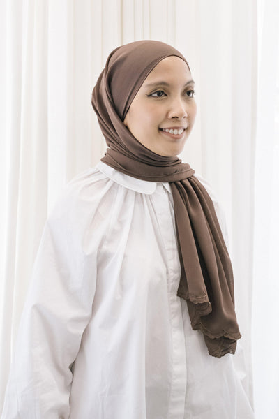 Lebaran Plain Shawl in Dark Brown