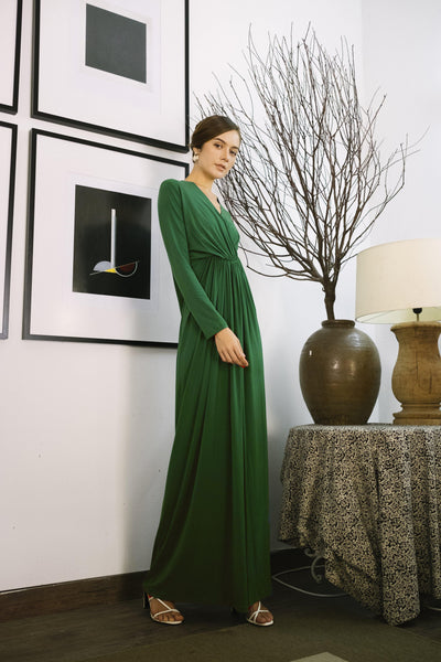 Knot Dress in Emerald