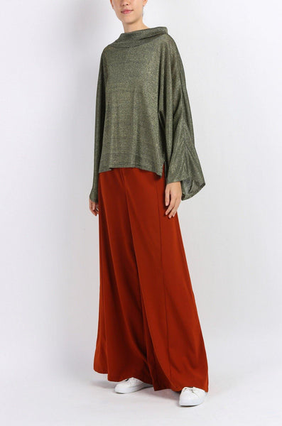 High Waisted Wide Leg Trouser in Brown