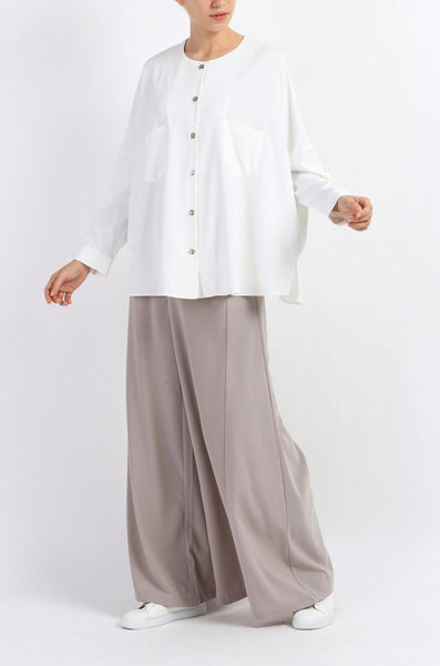 High Waisted Wide Leg Trouser in Grey
