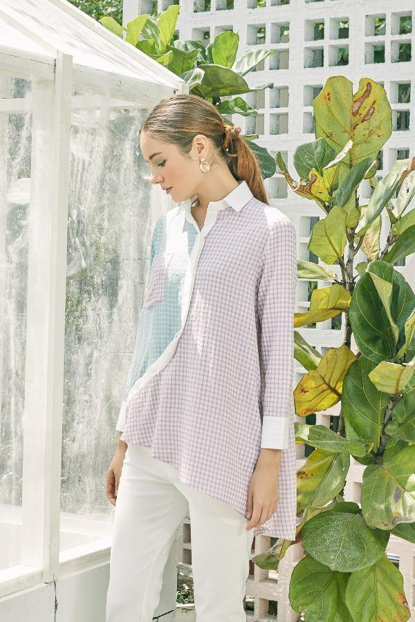 Jemma Bias Shirt in Checkered