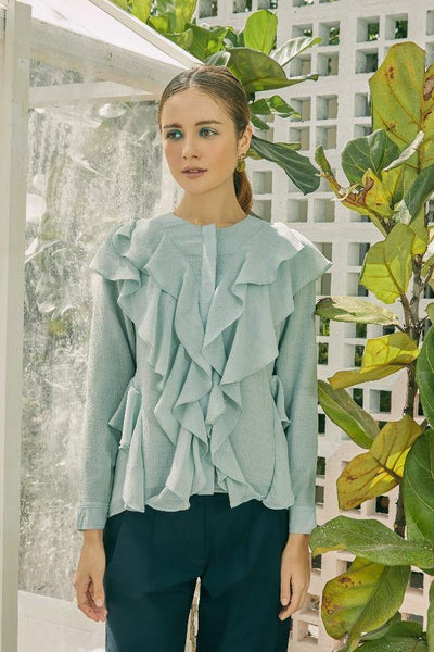 Elora Ruffle Blouse in Mint Green