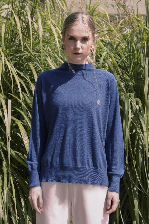 Alston High Neck Wool Top in Royal Blue