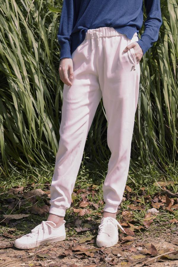 Mid Rise Jogger Pants in White