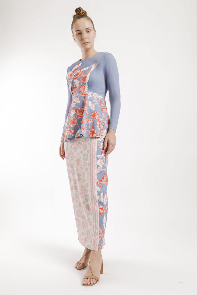 Ines Asymmetric Flare Kurung Set in Blue Violet