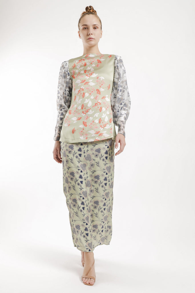 Rita Puff Sleeves Kurung Set in Mint Green