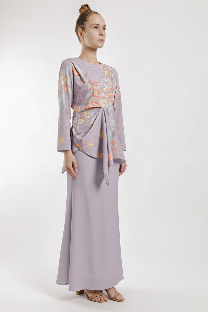 Atris Draped Kurung Set in Dusty Lilac