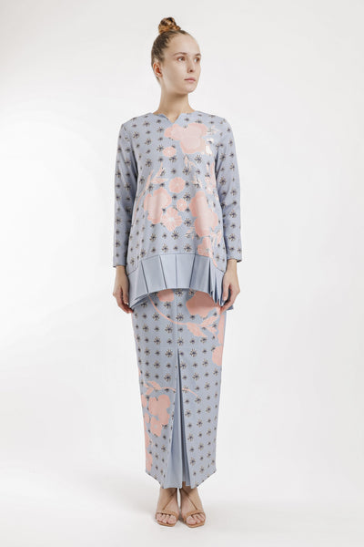 Judith Pleated Kurung Set in Soft Blue