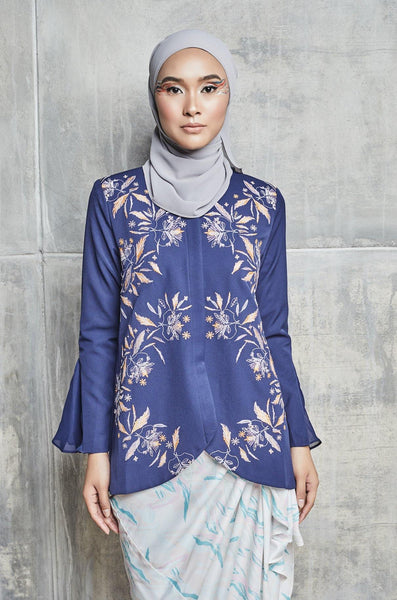 Roza Embroidered Top with flare cuff in Dark Blue