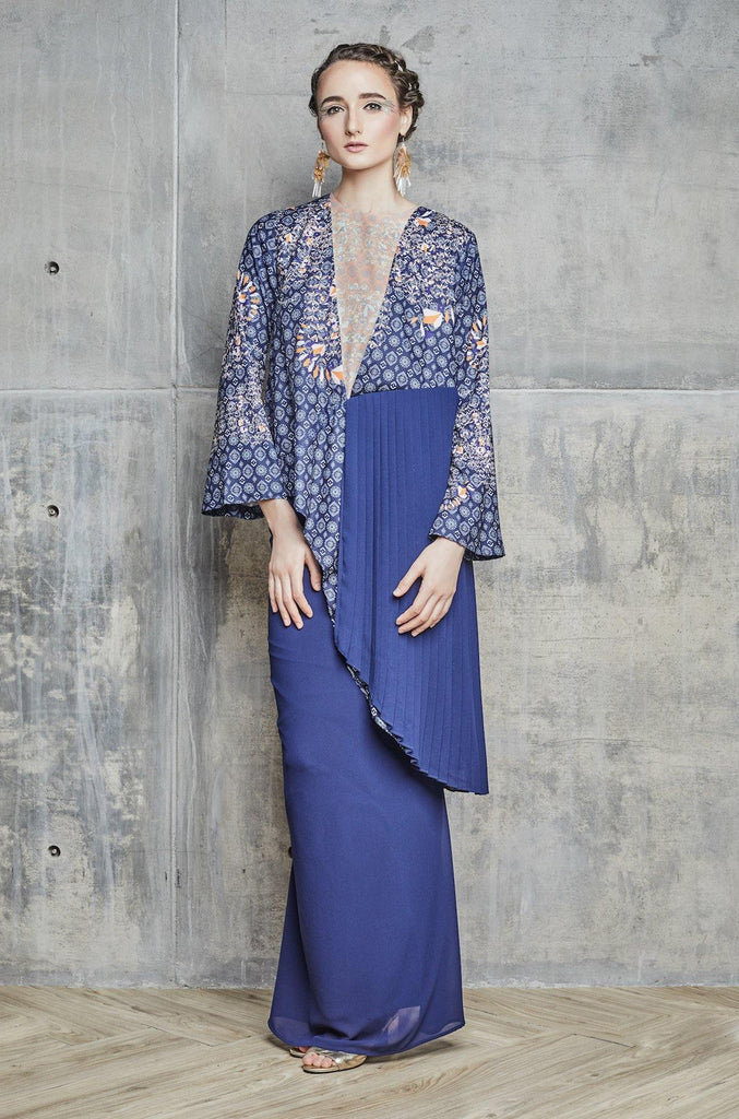 Raily printed Pleated kurung set in Navy Blue