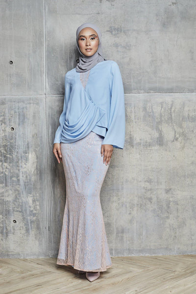 Freeda Draped Lacey kurung set in Powder Blue