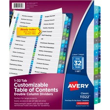 Avery® Ready Index Double-Column Dividers - Customizable Table of Contents