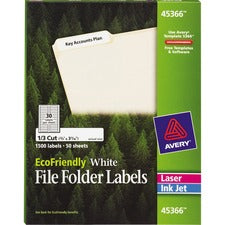 Avery® EcoFriendly File Folder Labels, Permanent Adhesive, 2/3