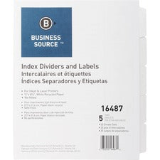 Business Source Un-punched Index Dividers Set