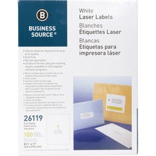 Business Source Bright White Premium-quality Full-sheet Address Labels