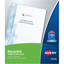 Avery® Recycled Sheet Protectors - Acid-free, Archival-Safe, Top-Loading