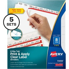 Avery® Big Tab Print & Apply Clear Label Dividers - Index Maker Easy Apply Label Strip