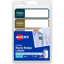 Avery® Flexible Name Badge Labels, Assorted Colors, 1
