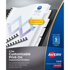 Avery® Unpunched Print-On Dividers