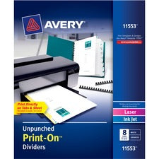 Avery® Customizable Unpunched Print-On Dividers