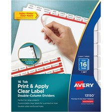 Avery® Print & Apply Clear Label Double-Column Dividers, Index Maker(R) Easy Apply(TM) Printable Label Strip, 16 White Tabs (13150)