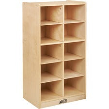 ECR4KIDS Birch 10 Cubby Tray Cabinet