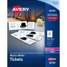 Avery® Blank Printable Tickets with Tear-Away Stubs - Perforated