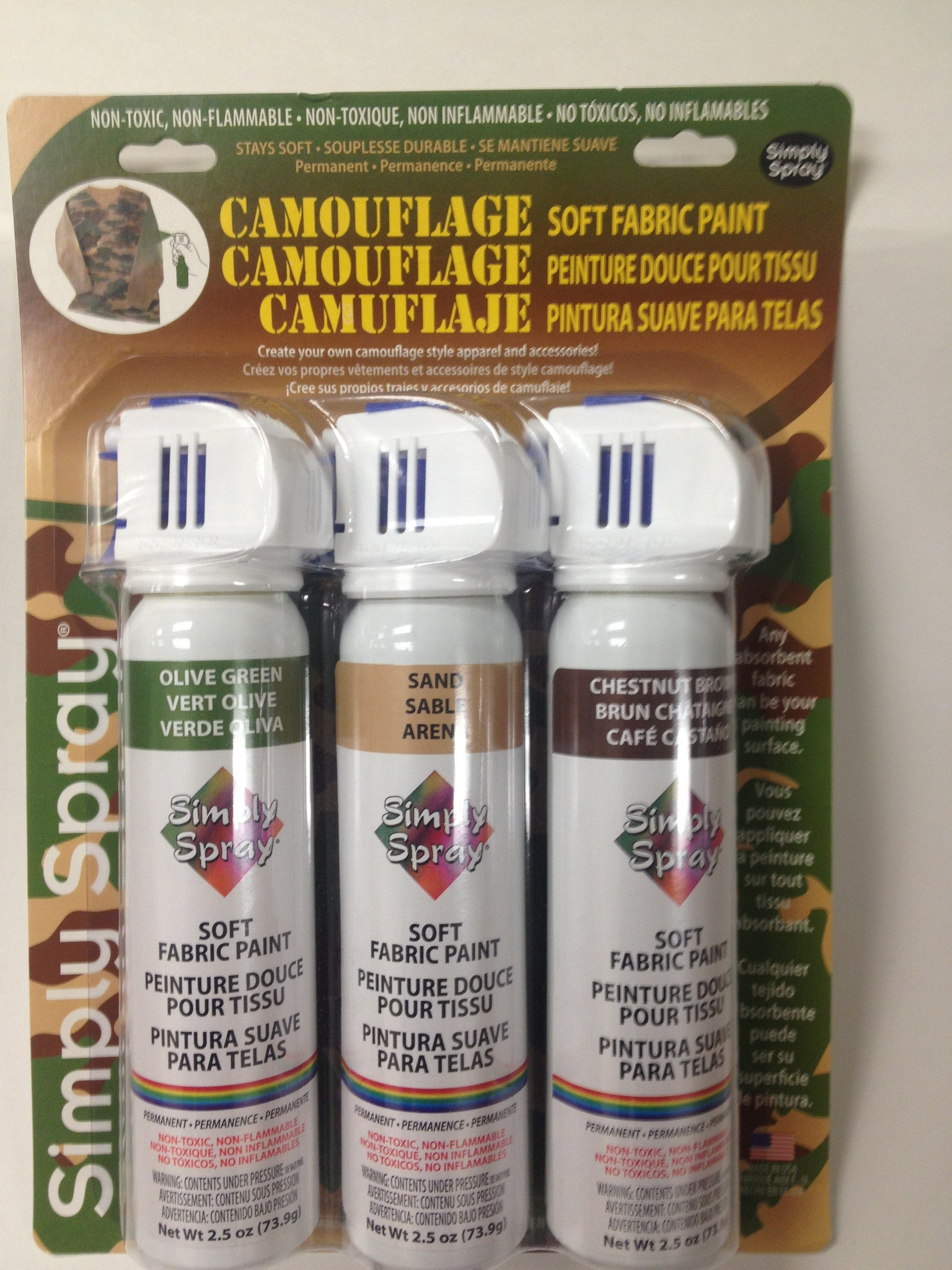 camouflage soft fabric paint kit 3 cans