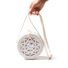 Load image into Gallery viewer, Bali Vintage Handmade Crossbody Leather Bag Round Beach Bag Girls Circle Rattan bag Small Bohemian Shoulder bag