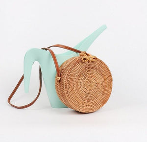 Bali Island Hand Woven Bag Round Butterfly buckle Rattan Straw Bags Satchel Wind Bohemia Beach Circle Bag LB966