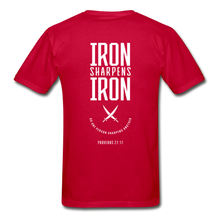 "Load image into Gallery viewer, ""Iron Sharpens Iron"" Men's T-Shirt - red"