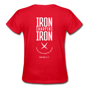 """Iron Sharpens Iron"" Women's T-Shirt - red"