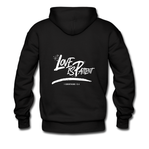 """Love Is Patient"" Men's Hoodie - black"